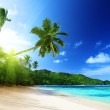 Beach in sunset time on Mahe island in Seychelles — Stock Photo #18927267