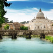 View on Tiber and St Peter Basilica in Vatican — Stock Photo #18927765