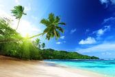 Beach zonsondergang tijdig op mahe island in seychellen — Stockfoto