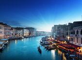 京杭运河在日落时间,威尼斯,意大利 — 图库照片
