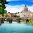 View on Tiber and St Peter Basilica in Vatican — Stock Photo #19527555