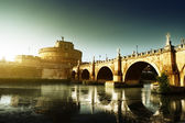 Saint Angel Fortress and Tiber river in Rome, Italy — Stock Photo
