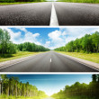 Sunny day and road set of banners — Stock Photo