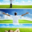 Happy man on spring field, set of banners — Stock Photo