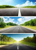 Afiş güneşli gün ve yol kümesi — Stok fotoğraf