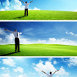 Happy man on spring field, set of banners - 