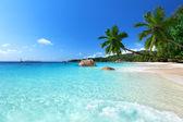Praia de anse lazio na ilha de praslin, seychelles — Foto Stock