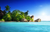 Sunset on the beach, Anse Source d'Argent, La Digue island, Seys — Stock Photo