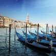 Gondolas on Grand Canal and St Marks Tower - Foto de Stock