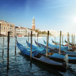 Stock Photo: Gondolas on Grand Canal and St Marks Tower