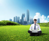 Business man working in park — Stock Photo