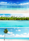 Set of Caribbean beaches — Stock Photo