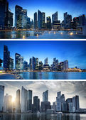 Banners of sunset in Singapore — Stock Photo