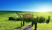 Tuscany landscape with typical farm house, Italty — Foto de Stock