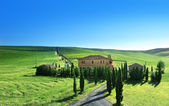 Tuscany landscape with typical farm house, Italty — Foto Stock