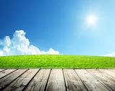 Campo verde y piso de madera — Foto de Stock