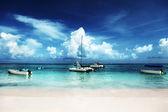 Iates e praia do caribe — Fotografia Stock