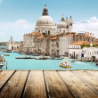 Basilica Santa Maria della Salute, Venice, Italy and wooden surf — Stock Photo