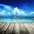Caribbean beach and yachts — Foto Stock