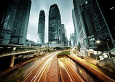 Traffic in Hong Kong at sunset time — Stock Photo