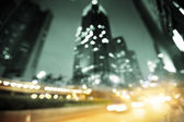 Night lights of the Hong Kong out of focus — Stock Photo