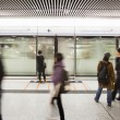 Blur people walk at subway station — Zdjęcie stockowe