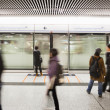 Stock Photo: Blur people walk at subway station