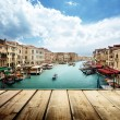 Venice, Italy and wooden surface — Stock Photo