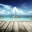 Stock Photo: Caribbean beach and yachts