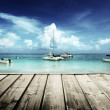 Caribbebeach and yachts — Stock Photo #31838381
