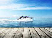 Speed boat in tropical sea — Stock Photo