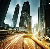 日没時に香港を交通します。 — ストック写真