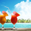 Two fresh juices on beach — Stock Photo #33661049