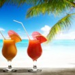 Two fresh juices on beach — Stock Photo #33662473