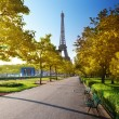 Autumn morning and Eiffel Tower, Paris, France — Stock Photo