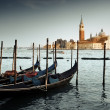 Gondolas on Grand Canal and San Giorgio Maggiore church in Venic — Stock Photo #34200191