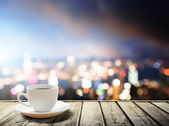 Coffee on table in the night city — Foto Stock