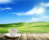 Cup coffee and tuscany hills, Italy — Stock Photo