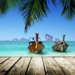 Beach, boats, Andaman Sea, Thailand — Stock Photo