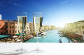 Champaign Glasses and Venice — Stock Photo