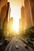Hong Kong Business District in sunset time — Stock Photo