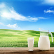 Milk and sunny spring field — Stock Photo #39982807