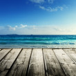 Seychelles beach and wooden pier — Stock Photo #40914273