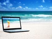 Notitieblok op het strand — Stockfoto
