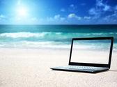 Notatnik na plaży — Zdjęcie stockowe