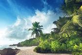 Zonsondergang op de beach Seychellen — Stockfoto