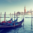 Gondolas on Grand Canal and San Giorgio Maggiore church in Venic — Stock Photo #46159493