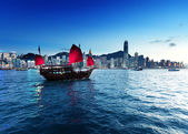 Hong Kong harbour  in sunset time — Foto Stock