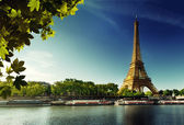 Seine in Paris with Eiffel tower — Стоковое фото