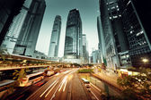 Traffic in Hong Kong at sunset time  — Stock Photo